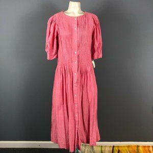 Vintage Talbots Light Red Pintuck Midi Dress